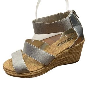 Michael Michael Kors Silver Wedge Sandals Size 8